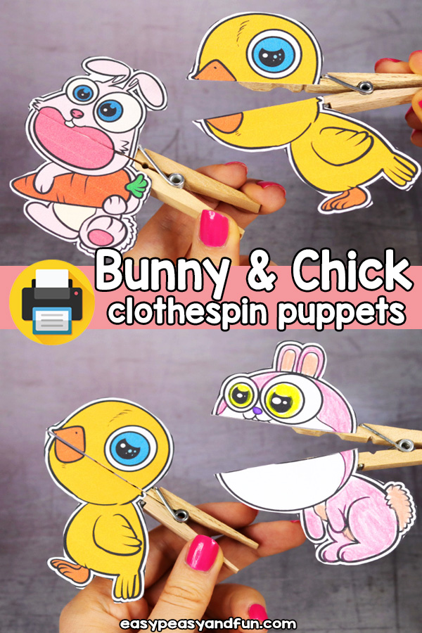Printable Bunny and Chick Clothespin Puppets - craft for kids