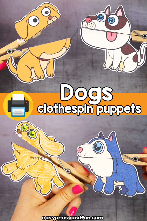 Printable Dog Clothespin Puppets