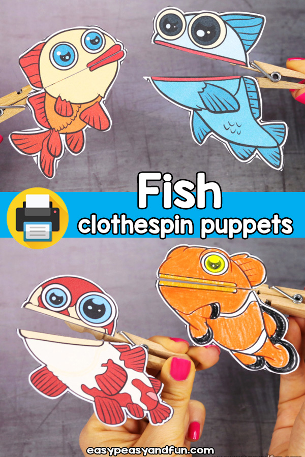 Printable Fish Clothespin Puppets