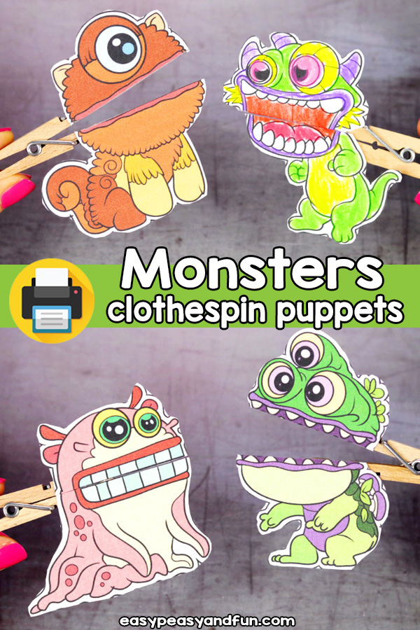 Printable Monster Clothespin Puppets