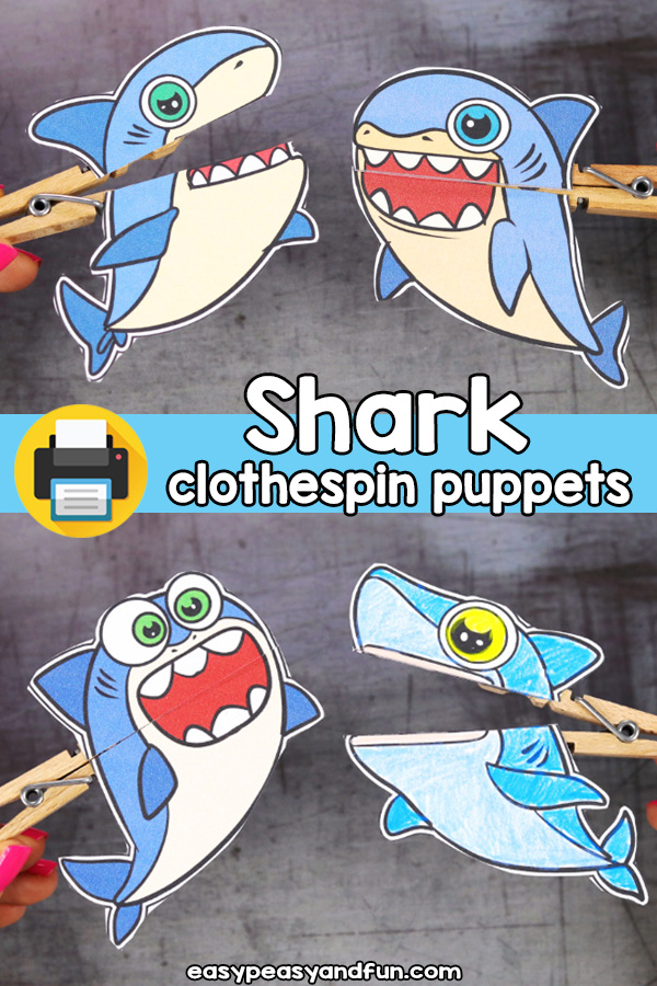 Printable Shark Clothespin Puppets
