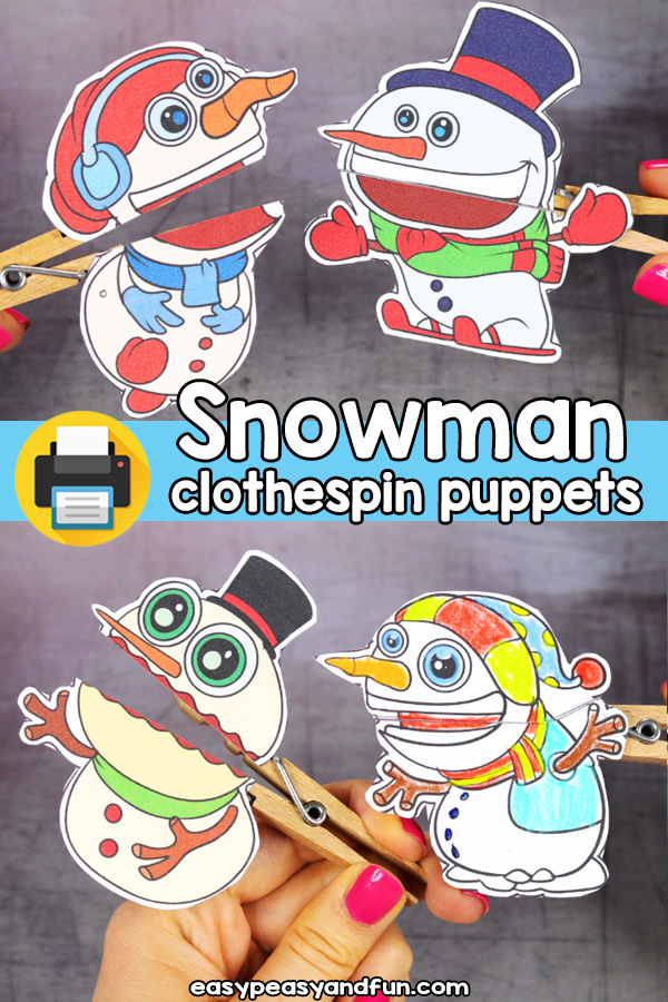Printable Snowman Clothespin Puppets