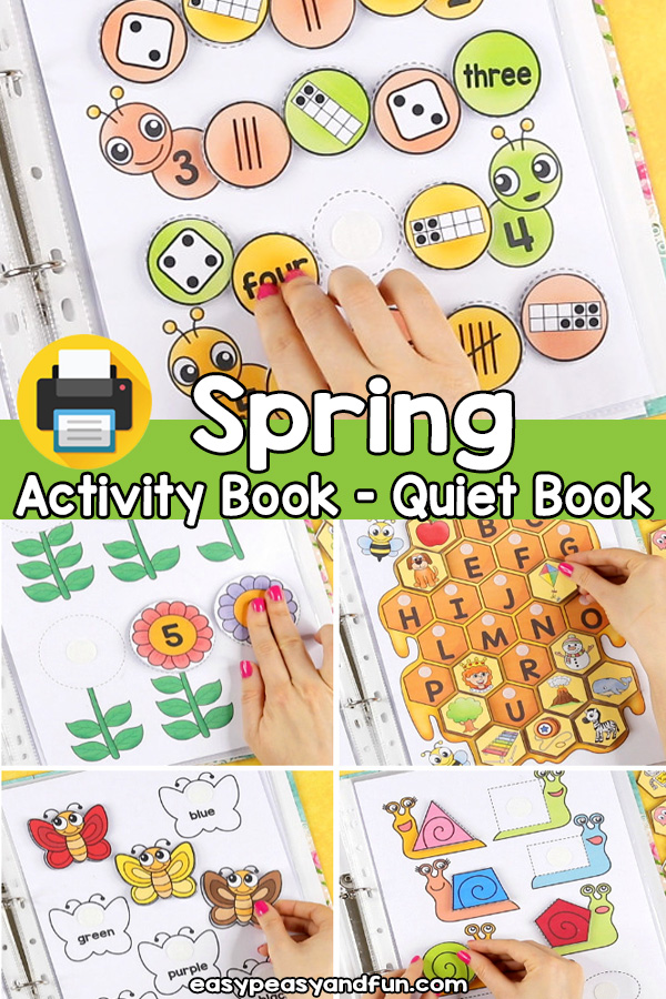 Printable Spring Basic Skills Activity Book Quiet Book for Preschool and Kindergarten