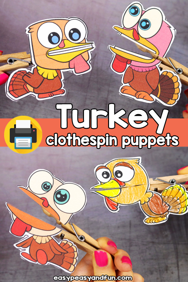 Printable Turkey Clothespin Puppets