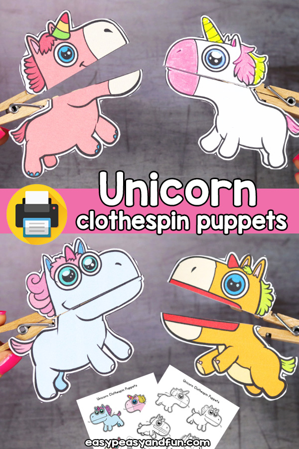Printable Unicorn Clothespin Puppets