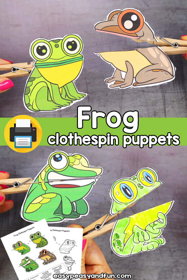 Printable frog clothespin puppets