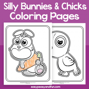 Silly Bunny and Chick Coloring Pages