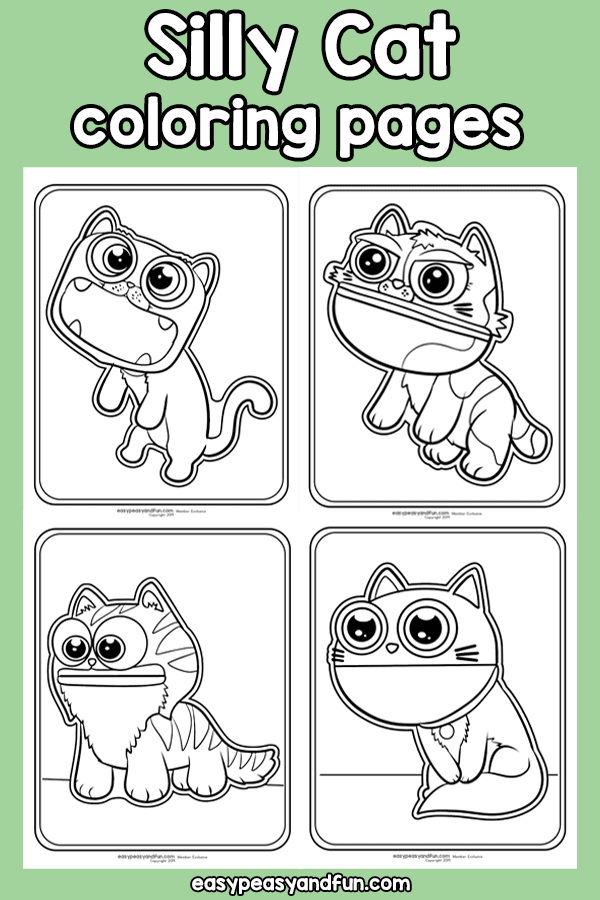 Printable Silly Cat Coloring Pages