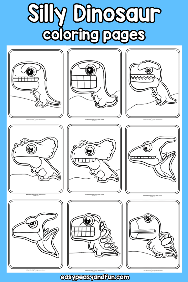 Printable Silly Dinosaur Coloring Pages