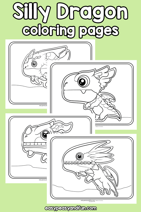 Printable Silly Dragon Coloring Pages