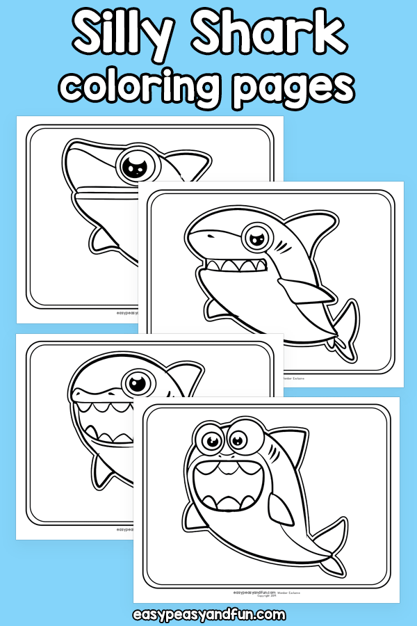 Printable Silly Shark Coloring Pages