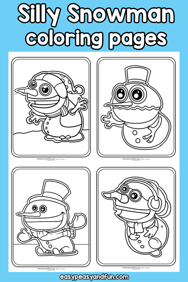 Printable Silly Snowman Coloring Pages