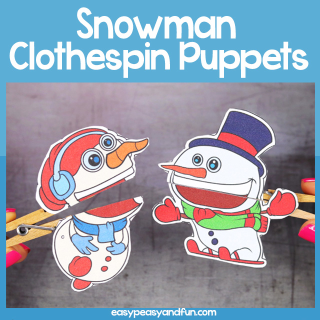Snowman Clothespin Puppets