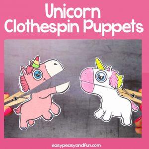 Unicorn Clothespin Puppets