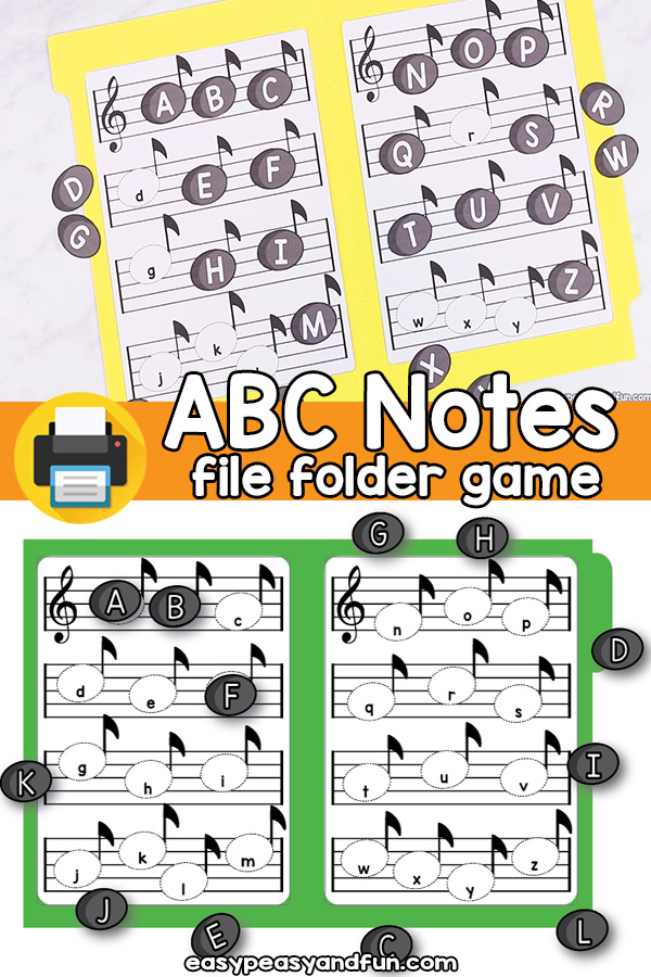 Alphabet Notes File Folder Game