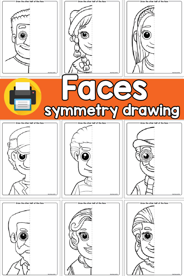 Faces Symmetry Drawing Printable