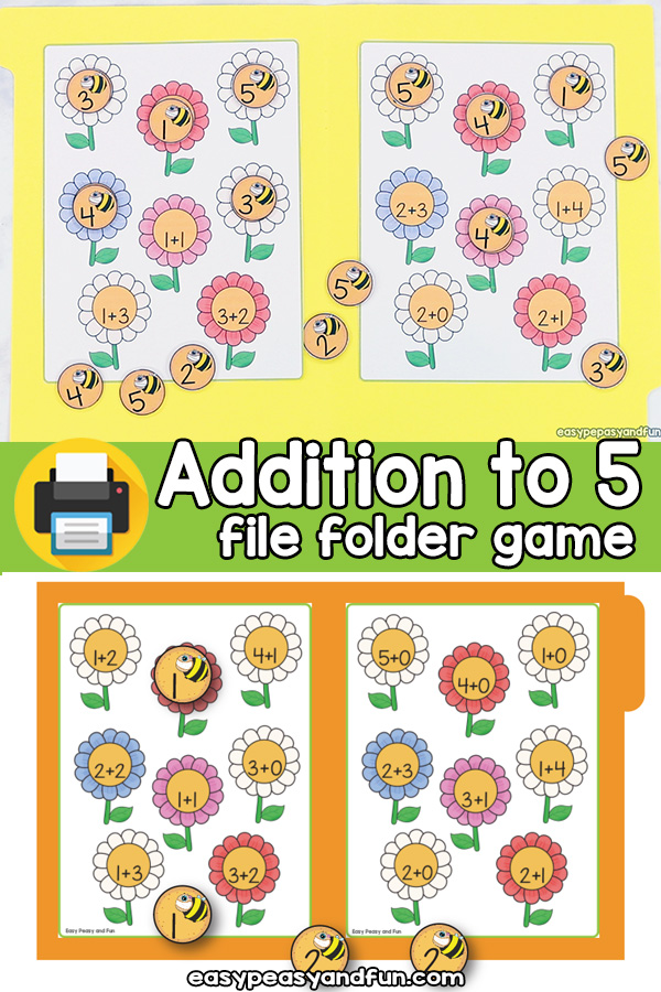Flowers Addition to 5 File Folder Game