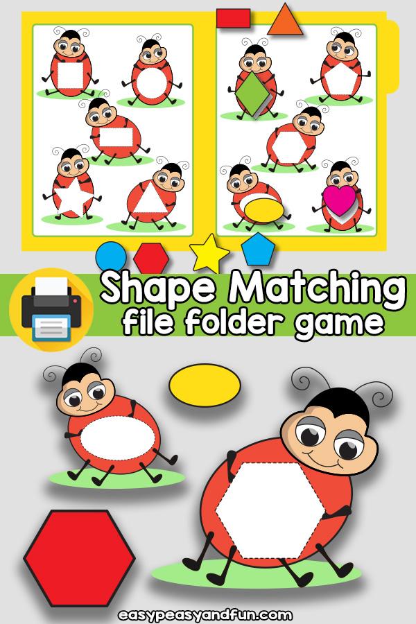 Ladybug Shape Matching File Folder Game