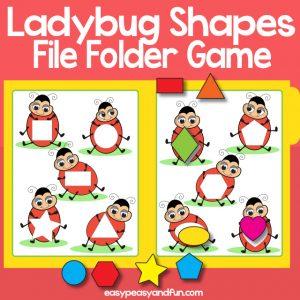 Ladybug Shapes File Folder Game