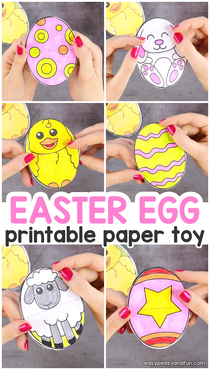 Printable Easter Egg Paper Toy - fun interactive Easter Craft for Kids