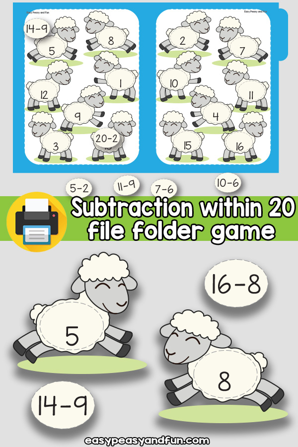 Sheep Subtraction Within 20 File Folder Game
