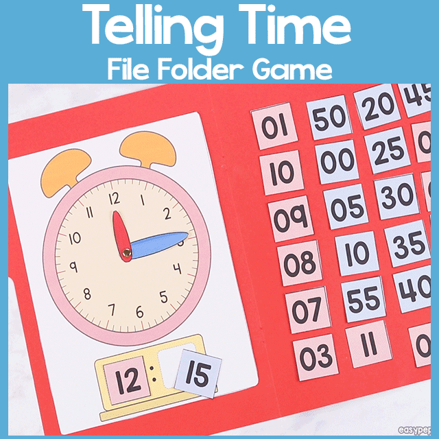 Telling Time File Folder Game
