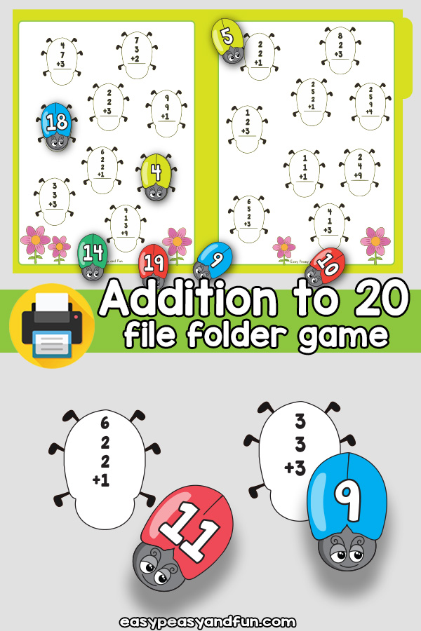 Addition to 20 - 3 and 4 number addition - File Folder Game