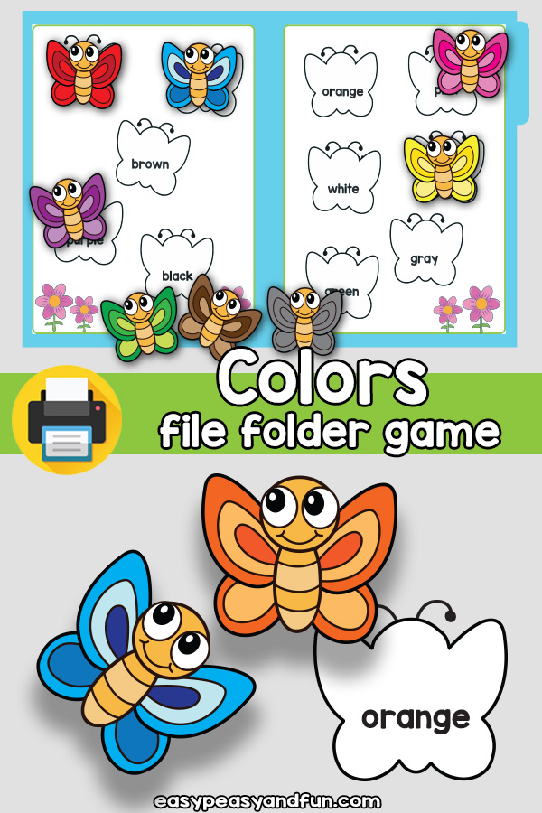 Butterfly Colors File Folder Game