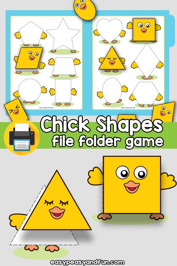 Chicks Shapes Matching File Folder Game