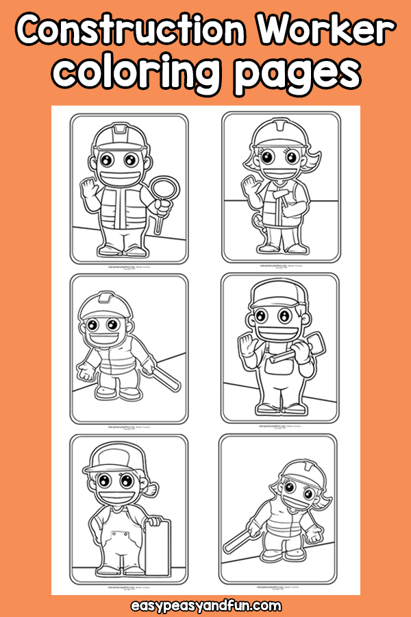 Community Helpers Construction Worker Coloring Pages