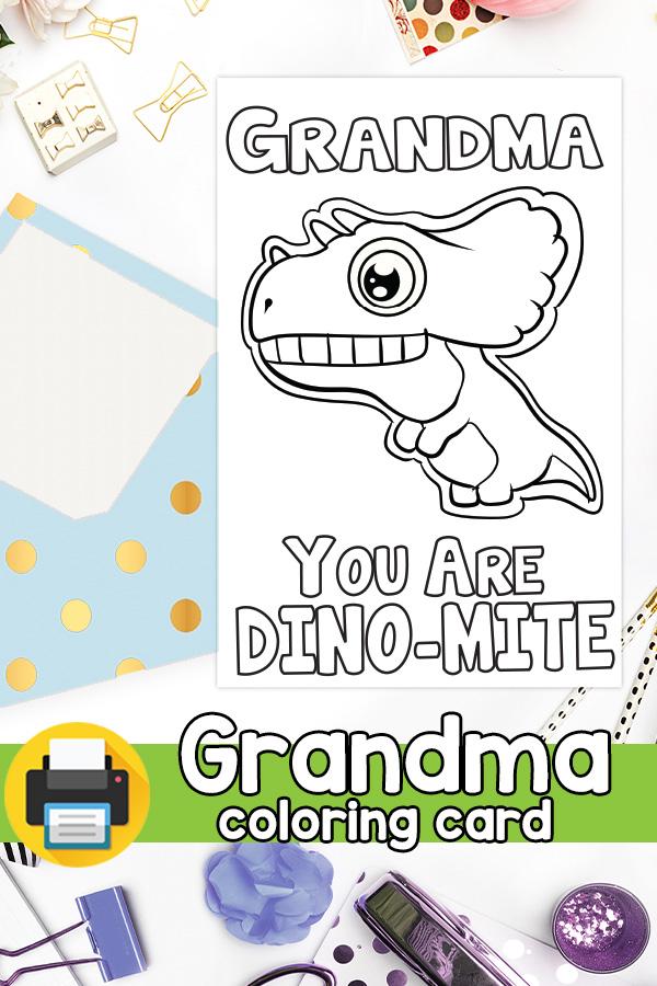 Dino-mite Grandma Card - Grandparents Day