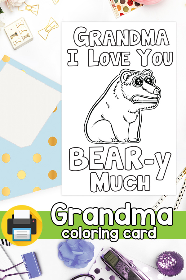 Grandma I Love You Beary Much Pun Card