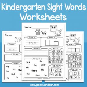Kindergarten Sight Words Worksheets
