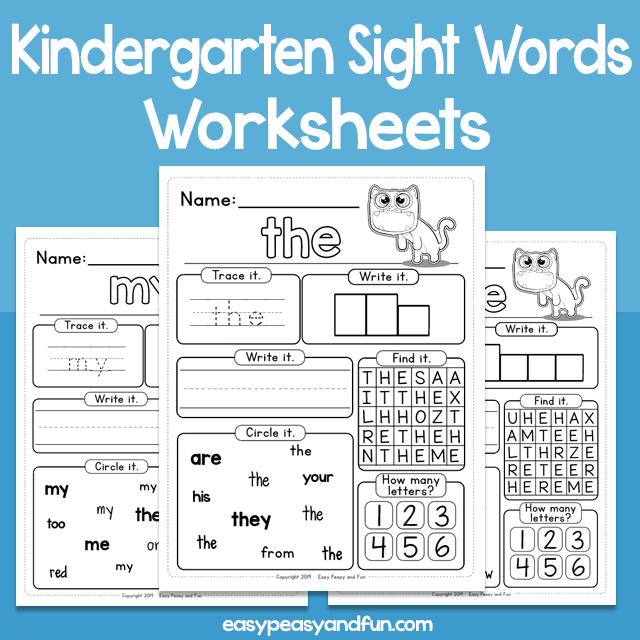 Kindergarten Sight Words Worksheets
