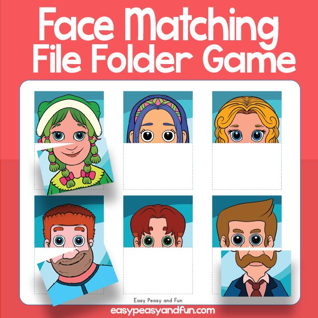 Matching Faces File Folder Game