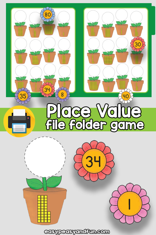 Ones and Tens Place Value File Folder Games