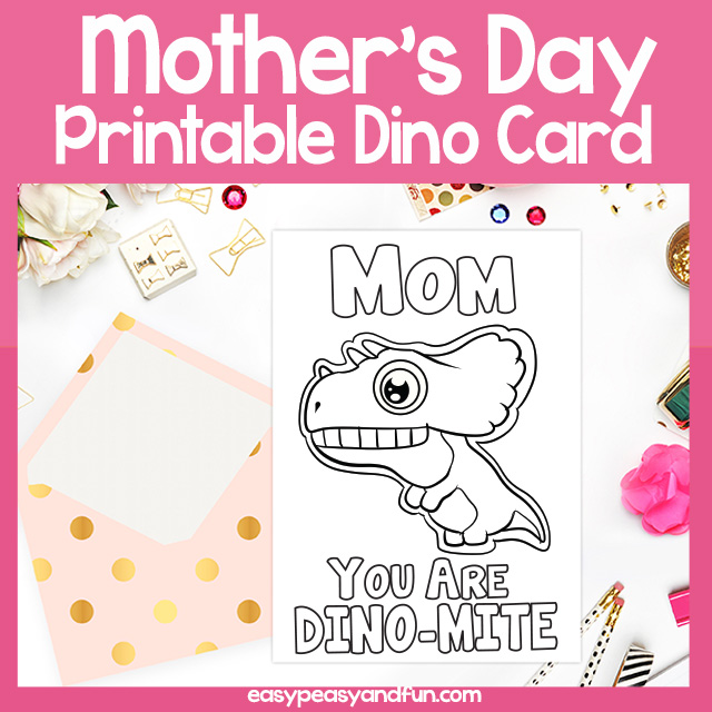photo about Printable Mothers Day Cards for Kids identify Printable Mother Your self are Dino-Mite Moms Working day Card Very simple
