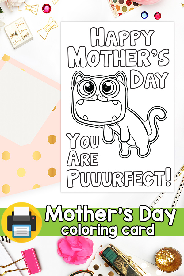 Printable Puurfect Cat Mother's Day Card