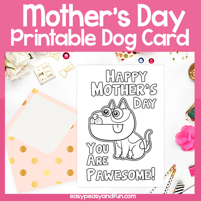 photo regarding Printable Funny Mothers Day Cards known as Printable Your self are Pawesome Moms Working day Card Straightforward Peasy