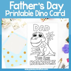 Roarsome Dad Fathers Day Dinosaur Pun Card