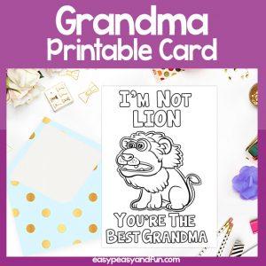 The Best Grandma Lion Card Grandparents Day