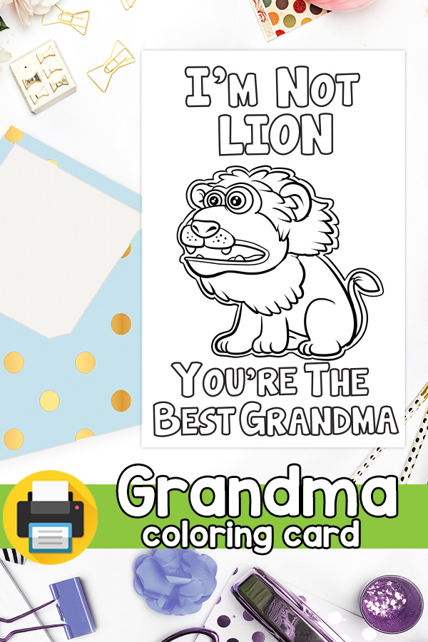 The Best Grandma Lion Card Grandparents Day