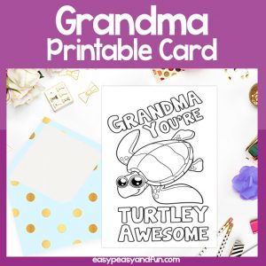 Turtley Awesome Grandma Card Pun