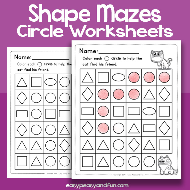 Shape Mazes Circle Worksheets – Easy Peasy and Fun Membership