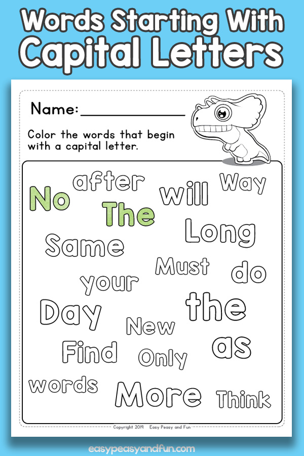 Color the words beginning with capital letters worksheets