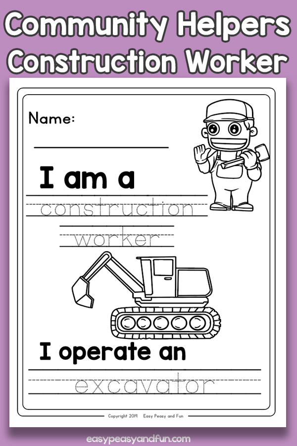 Construction Worker Community Workers Worksheets