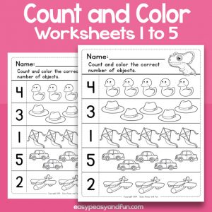 Count and Color Worksheets 1 to 5