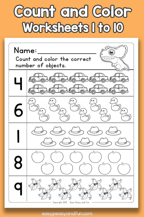 Count and Color Worksheets for Preschool 1 to 10