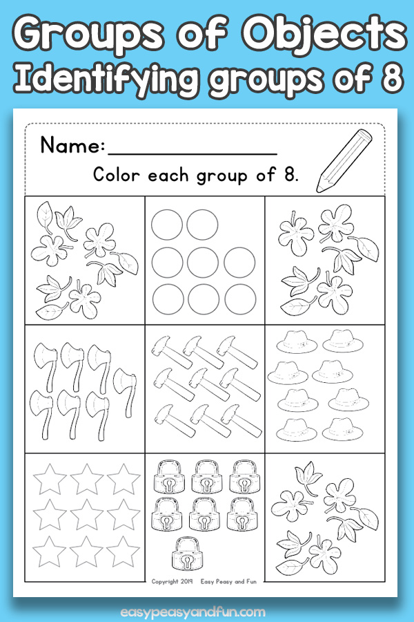 Counting Groups of Objects Worksheets - Eight