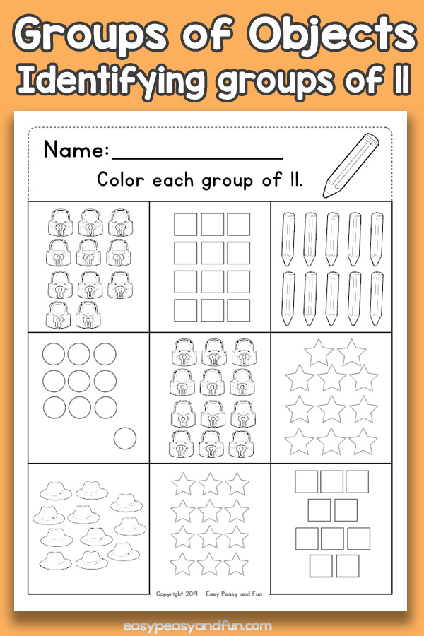 Counting Groups of Objects Worksheets - Eleven